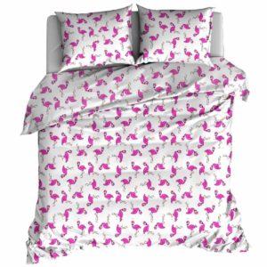 """Pościel bawełniana 160x200 """"Flamingi"""" firmy TuliSen."""