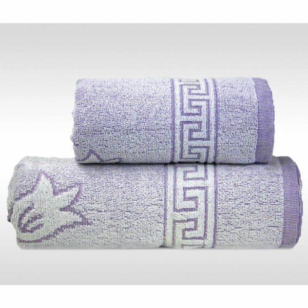 Liliowy ręcznik Flora Ocean firmy Greno.