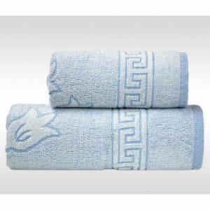 Niebieski ręcznik Flora Ocean firmy Greno.