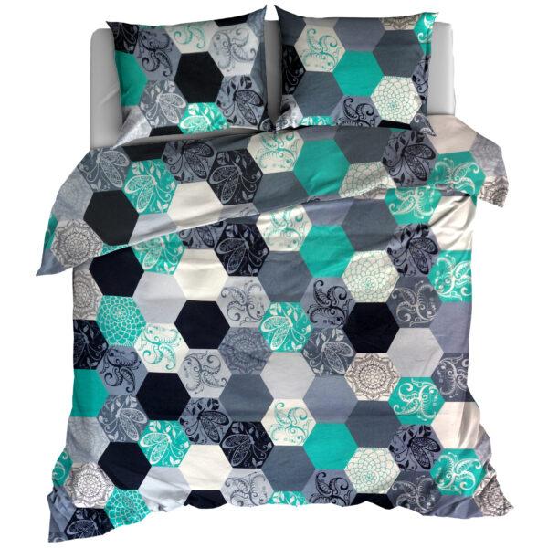 Pościel flanelowa 160x200 Hexagon mint od TuliSen
