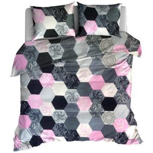 Pościel flanelowa 160x200 Hexagon pink od TuliSen