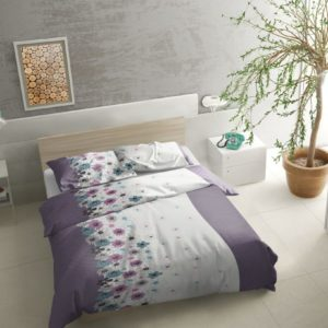 Pościel flanelowa 160x20 fioletowe kwiaty w aranżacji od firmy TuliSen.