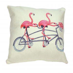 Poszewka dekoracyjna 45x45 Flamingi na rowerze od TuliSen.