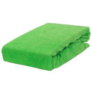 Prześcieradło frotte z fumką w kolorze jaskrawej zieleni.