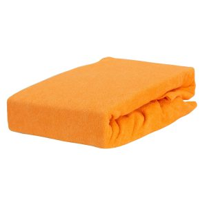 Prześcieradło frotte z gumką w zgaszonej pomarańczy firmy TuliSen.