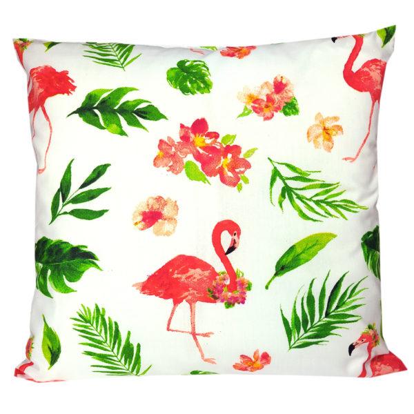 Poszewka bawełniana Flamingi w liściach białe od TuliSen
