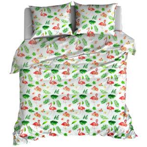 Pościel bawełniana Flamingi w liściach białe od TuliSen